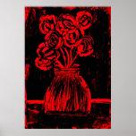Vintage Red Roses Print