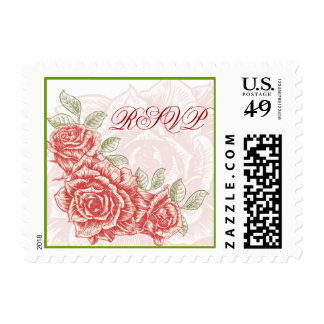 Vintage Red Roses RSVP postage stamp