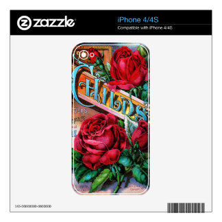 Vintage Red Roses Skins For The iPhone 4