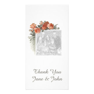 Vintage Red Roses Thank You Photocard Photo Greeting Card