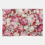 vintage red roses,victorian,floral,romantic,girly, towel