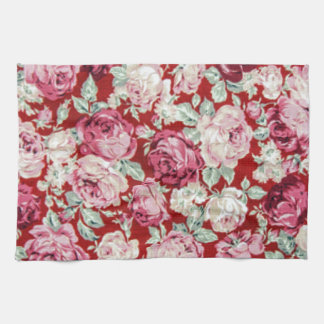 vintage red roses,victorian,floral,romantic,girly, hand towel