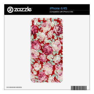 vintage red roses,victorian,floral,romantic,girly, skins for the iPhone 4