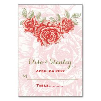 Vintage red roses wedding folded escort card