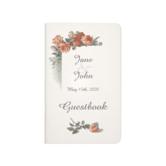 Vintage Red Roses Wedding Guestbook Journal