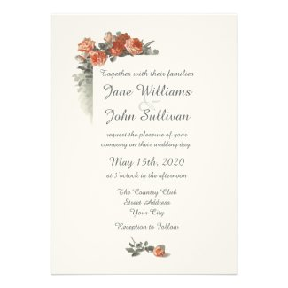 Vintage Red Roses themed wedding collection with wedding invitation cards featuring an arrangement of vintage peach red roses and green gray stems and leaves