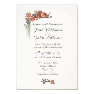 Vintage Red Roses Wedding Invitation