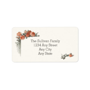 Vintage Red Roses Wedding Name and Address Label at Zazzle