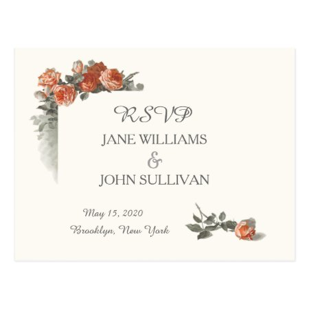 Vintage Red Roses Wedding Rsvp Cards