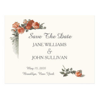 Vintage Red Roses Wedding Save The Date Postcard