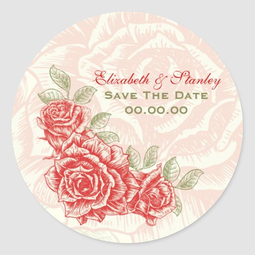 Vintage red roses wedding Save the Date sticker
