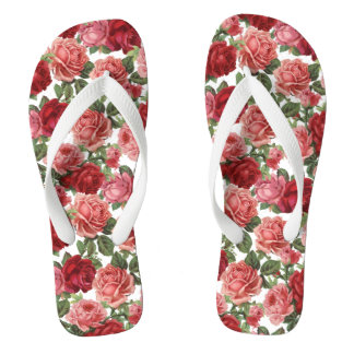 VINTAGE RED ROSES Wide Strap FlipFlops Thongs Flip Flops