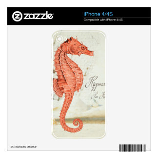 Vintage Red Sea Horse Decals For iPhone 4S