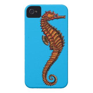 Vintage Red Seahorse Engraving iPhone 4 Cases