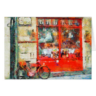 Vintage Red Shop, bicycle, colorful art card