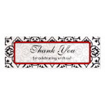 Vintage Red Silver and Black Damask Wedding Tags Business Cards