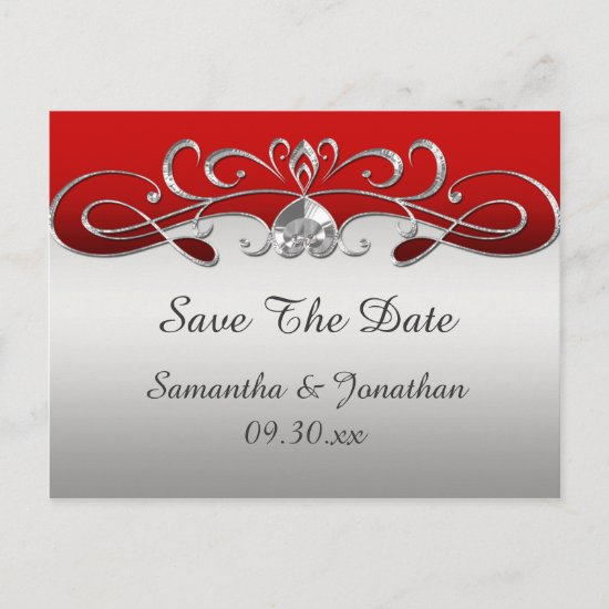 Vintage Red Silver Ornate Swirls Save The Date Announcement Postcard