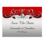Vintage Red Silver Ornate Swirls Save The Date Postcard