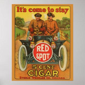 Vintage Red Spot 5 Cent Cigar Car Ad Poster