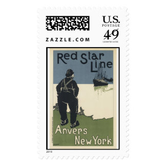 Vintage Red Star LIne Anvers New York Stamps