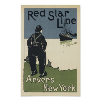 Vintage Red Star LIne Anvers New York Poster