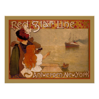 Vintage Red Star line Travel ad Poster