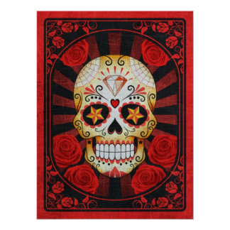 Vintage Red Sugar Skull with Roses Poster