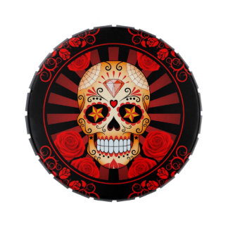 Vintage Red Sugar Skull with Roses Poster Jelly Belly Candy Tin