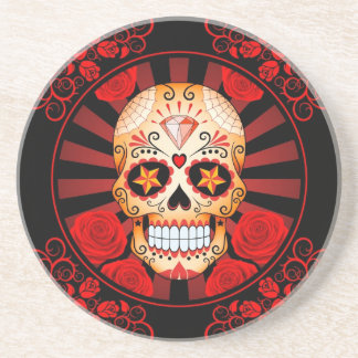 Vintage Red Sugar Skull with Roses Poster Beverage Coasters