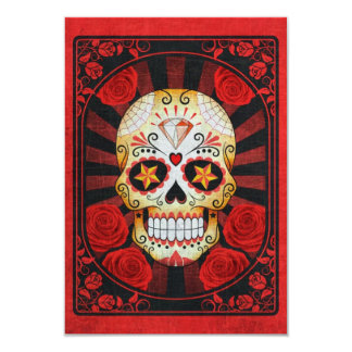 Vintage Red Sugar Skull with Roses Poster Custom Announcement