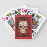Vintage Red Sugar Skull with Roses Poster Card Decks