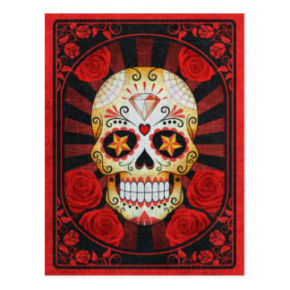 Vintage Red Sugar Skull with Roses Poster Postcard