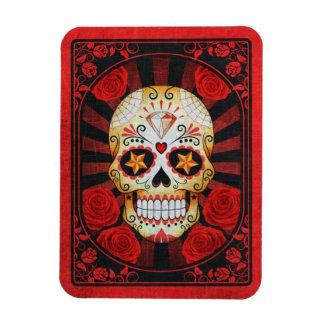 Vintage Red Sugar Skull with Roses Poster Vinyl Magnet