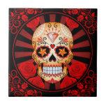 Vintage Red Sugar Skull with Roses Poster Tile