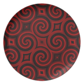 Vintage Red Swirly Texture Dinner Plate
