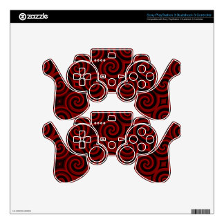 Vintage Red Swirly Texture Decal For PS3 Controller
