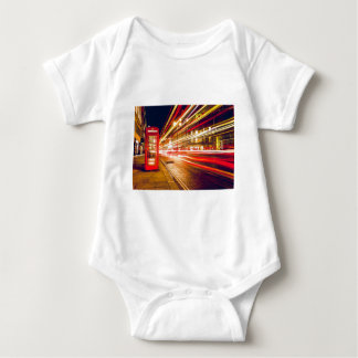 Vintage Red Telephone Box at Night in London Baby Bodysuit