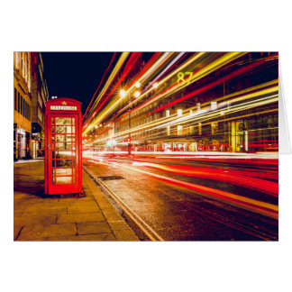 Vintage Red Telephone Box at Night in London Card