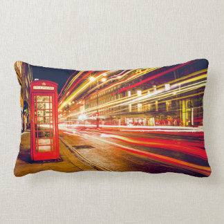 Vintage Red Telephone Box at Night in London Lumbar Pillow