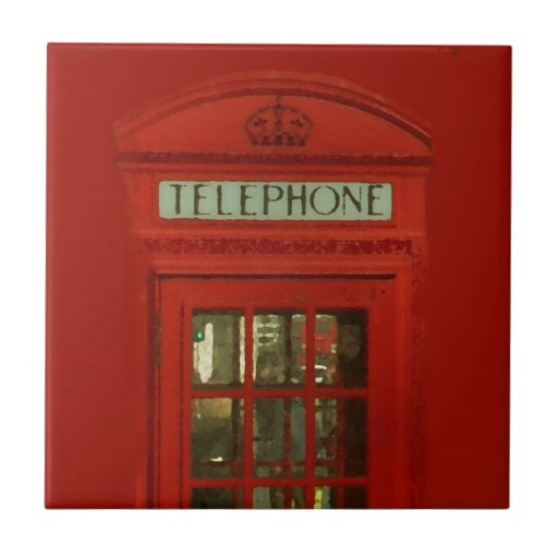 Vintage Red Telephone Box Tile