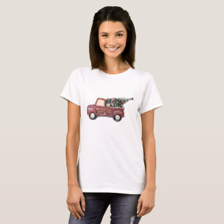 Vintage Red Toy Truck with a Christmas Tree T-Shirt