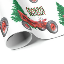 Vintage Red Tractor And Tree  Christmas Wrapping Paper