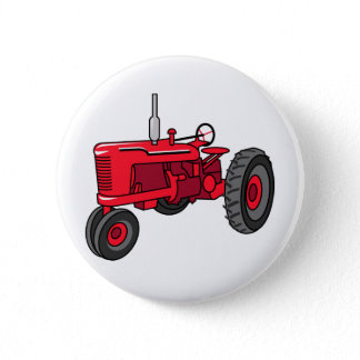 Vintage Red Tractor Button