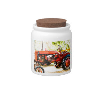 Vintage Red Tractor Candy Jar