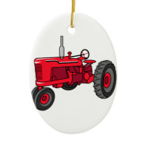 Vintage Red Tractor Ceramic Ornament