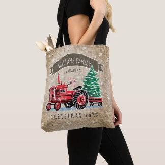 Vintage Red Tractor Christmas Tree Burlap Name Tote Bag