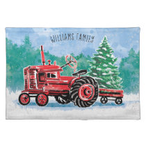 Vintage Red Tractor Christmas Tree Family Name Cloth Placemat