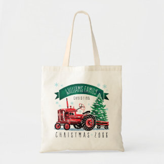 Vintage Red Tractor Christmas Tree Monogram Name Tote Bag