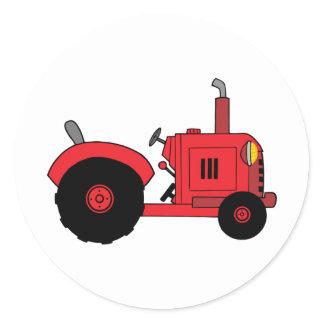 vintage red tractor classic round sticker