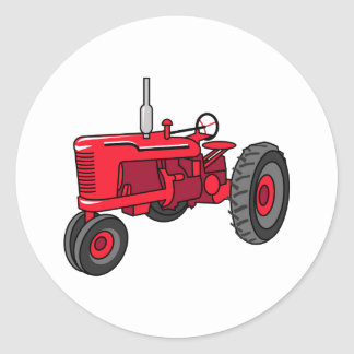 Vintage Red Tractor Classic Round Sticker